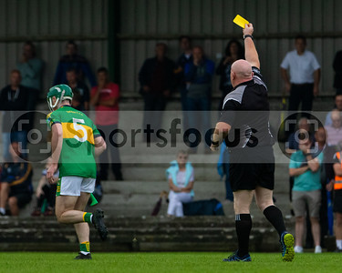 """Match referee Michael Murphy issues a yellow card to Portroe's Brian Keating during the """"FBD Insurance"""" Seamus O Riain Cup """"Group 2"""" Round 3 - Lorrha-Dorrha vs Portroe in Cloughjordan, 15th August 2020."""