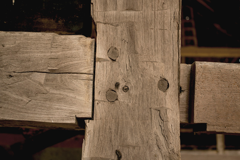 Hand Hewn Beams with Mortise & tenon Wood peg joints