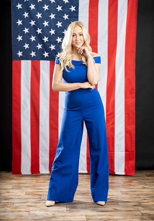 Lily Padget poses for a portrait in front of the American flag on January 22, 2020 in Bloomington, Indiana. The portrait was for a upcoming publication covering her involvement with pageants.