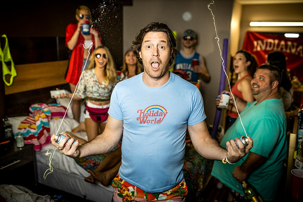 """Indiana Native Clayton Anderson poses for a album cover at a motel in Indianapolis as apart of his new single. The Indiana native wanted all of his friends to be apart of the new project """"Drinkin' in a Hotel Room"""""""
