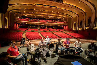 Members of Straight No Chaser prepare the music for the 2020 Tour at the IU Auditorium on March 4. The group recently retired a member and is welcoming a new IU alum and member of the group. They spent a week on campus preparing for the national tour and getting involved with classes on campus.