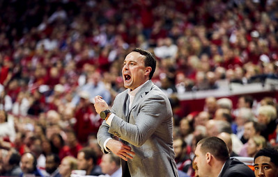 Indiana Hoosiers head coach Archie Miller reacts to a call in the Indiana versus Maryland men's basketball game at Simon Skjodt Assembly Hall Sunday, January 26, 2020.