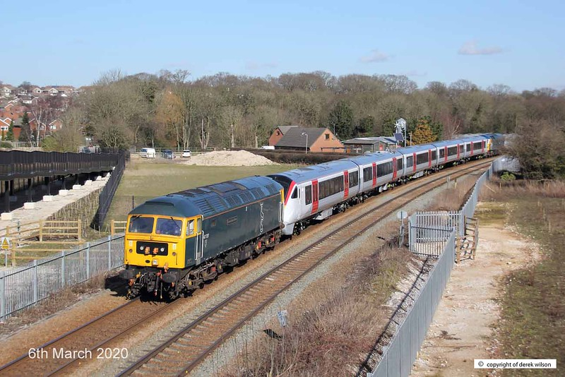 200306-005  GB Railfreight class 47 No 47749 City of Truro is captured from the equestrian bridge at Mansfield with Greater Anglia class 720 electric unit No. 720510 in tow. At the rear is classmate 47727 Caisteal Dhun Eideann (Edinburgh Castle). Train  5Q11, 10:43 Derby, Litchurch Lane - Worksop Down Yard.