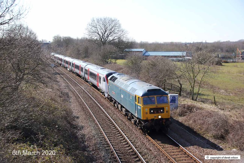 200306-004  GB Railfreight class 47 No 47749 City of Truro is captured from the equestrian bridge at Mansfield with Greater Anglia class 720 electric unit No. 720510 in tow. At the rear is classmate 47727 Caisteal Dhun Eideann (Edinburgh Castle). Train  5Q11, 10:43 Derby, Litchurch Lane - Worksop Down Yard.