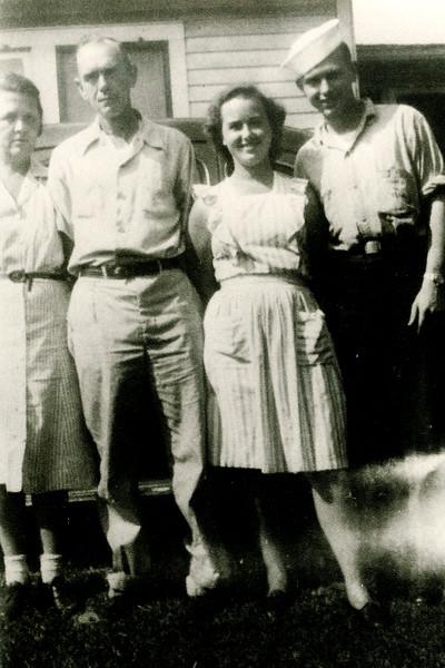 1943 - dad, sis, G & G