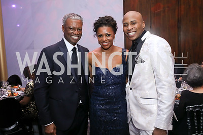 Art Collins, Gala Co-Chair Sela Thompson Collins and Ailey dancer Jeroboam Bozeman. Photo by Tony Powell. 2020 Alvin Ailey DC Gala. Kennedy Center. February 4, 2020
