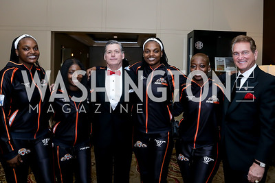 Theresha Miller, Joy Chukwuocha, Mac Curtis, Neresha Miller, Saidat Abbas, Joe Theismann. Photo by Tony Powell. 2020 Heart Ball. Mandarin Oriental. February 22, 2020