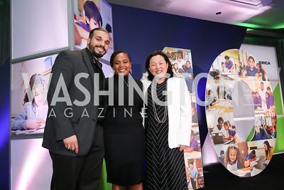 Eric Collazo, Mia Stevenson, Melissa Kim. Photo by Tony Powell. 10th Annual Teach for America Gala. Ritz Carlton. February 26, 2020