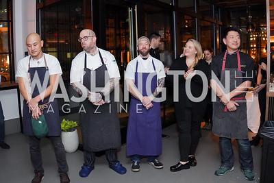 Chefs Tim Ma, Hamilton Johnson, Kyle Bailey, Tiffany MacIsaac and Kyoo Eom. Photo by Tony Powell. DC Central Kitchen Dinner with Ryan Zimmerman. Eaton. January 29, 2020