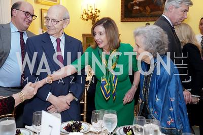 Jeff Coopersmith, Stephen Breyer, Speaker Nancy Pelosi, Joanna Breyer, Sen. Sheldon Whitehouse. Photo by Tony Powell. Esther's 90th Birthday Party. January 14, 2020