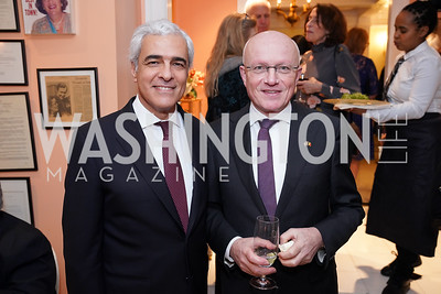 Portugal Amb. Domingos Fezas Vital, Belgium Amb. Dirk Wouters. Photo by Tony Powell. Esther's 90th Birthday Party. January 14, 2020
