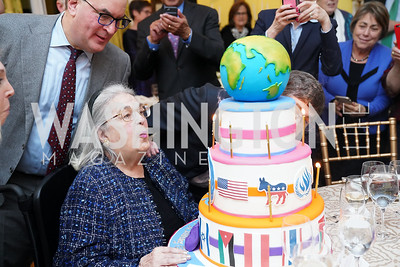 Jeff Coopersmith, Esther Coopersmith. Photo by Tony Powell. Esther's 90th Birthday Party. January 14, 2020