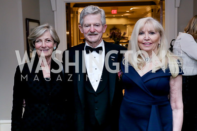 Suzanne Nicholson, Sec. Jim Nicholson, Christina Cox. Photo by Tony Powell. The Roman Gala. Army Navy Club. March 9, 2020