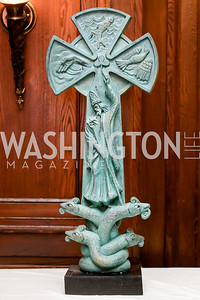 Sculpture of St. Patrick by Timothy Schmaiz. Photo by Tony Powell. The Roman Gala. Army Navy Club. March 9, 2020