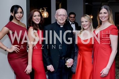 Tamara Lewis, Therese Holland, Father Jack Hurley, Zoe Dauth, Francesca Epifania. Photo by Tony Powell. The Roman Gala. Army Navy Club. March 9, 2020