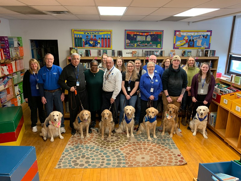 LCC K-9 Ministry teams were invited by Principal Vickie Hall from Story Elementary School in Milwaukee Thursday morning, February 27, to be with students, staff and faculty to provide a calming presence. The school is located near the Molson Coors campus and many were terrified as they were placed on immediate lock down.