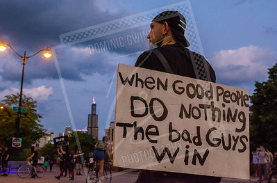 Chicago Protester With Sign