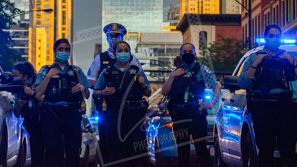 Chicago police during a protest