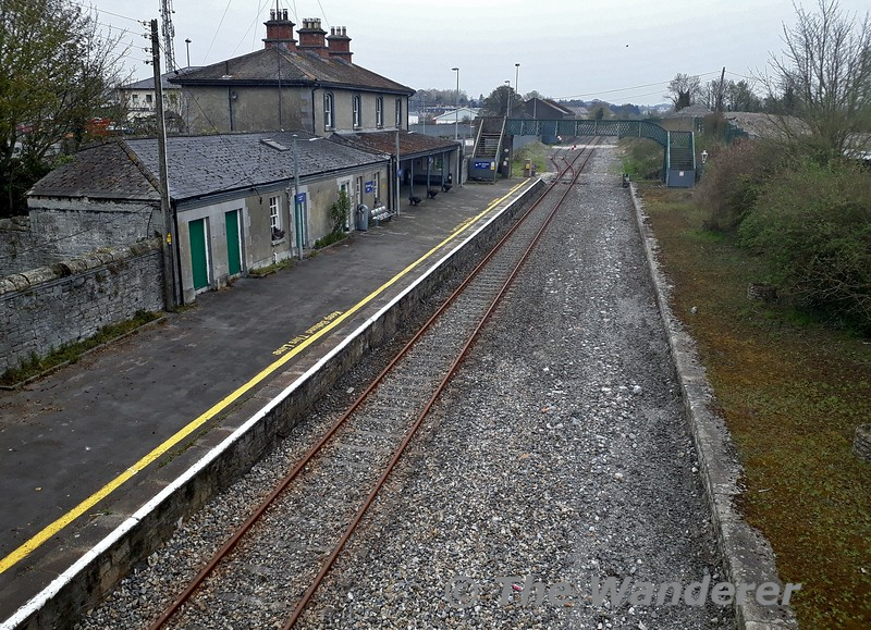 The rails are starting to become rusty at Nenagh as the COVID19 emergency timetable remains in force until further notice. Services on the Nenagh Branch and South Tipperary (Limerick Jct. - Waterford) have been suspended since Monday 30th March 2020 when the emergency timetable was introduced. <br /> <br /> Frequency on all other routes has been cut by up to 50% and train sizes cut to the bare minimum. All De-Dietrich & Mark 4 carriages have been removed from service and from this week the 5ICR sets have been gradually removed from service as the sets visit Laois Traincare Depot, being replaced by 4ICR sets.<br /> <br /> All services from Heuston are in the hands of 3ICR and 4ICR 22000 sets,  Limerick local services are in the hands of 2800 Class units and the Cork - Mallow - Tralee service is now in the hands of a 2 car 2600, the 4ICR unit being redeployed to cover a former MKIV diagram.<br /> <br /> With the Irish Government extending the travel restrictions until Tuesday 5th May 2020 at the earliest, it looks like Nenagh won't see a passenger train for a few weeks at least. Fri 10.04.20<br /> <br /> NOTE: Picture was taken while walking to a convenience store to purchase essential items and I also abided to the 2km daily exercise limit imposed by the Government of Ireland.  Stay safe everyone and hopefully we be back on the rails before we know it.