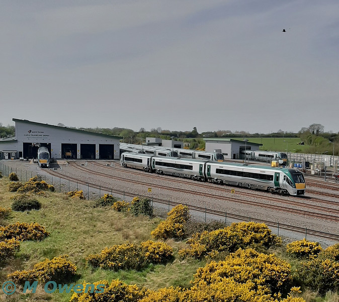 A view of Laois Train Care Depot from the top of the fuel farm on Wednesday 22nd April 2020. The large amount of train stabled shows off the reduced fleet requirements during the COVID19 emergency timetable which has been in force since 30th March 2020. Fleet requirements for the 22000 fleet now stand at 20 x 3ICR, 18 x 4ICR and 0 x 5ICR. Wed 22.04.20<br /> <br /> Photo courtesy of M. Owens.