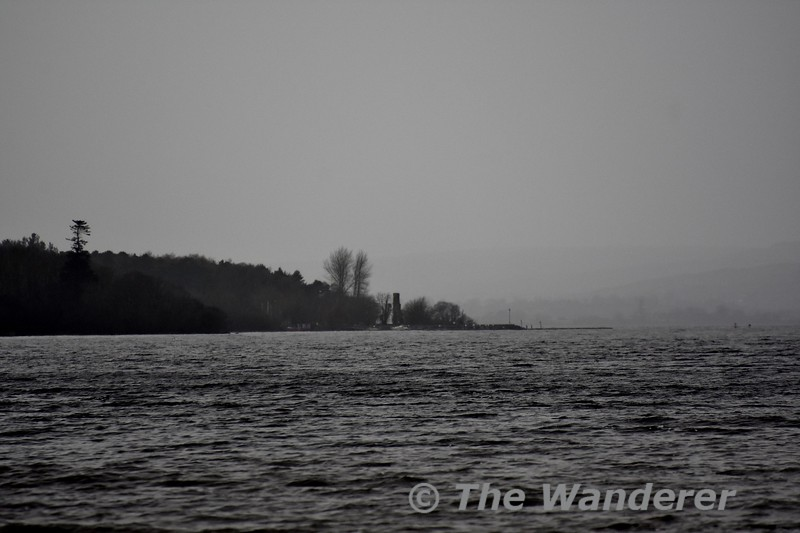Looking across to Garrykennedy from Shannonhall in Youghal Bay on Lough Derg. Sun 02.02.20