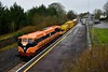 073 pauses at Cloughjordan with the 0825 Limerick - Ballybrophy Sperry Train. The onboard staff waned to recalibrate the equipment before proceeding. Fri 21.02.20
