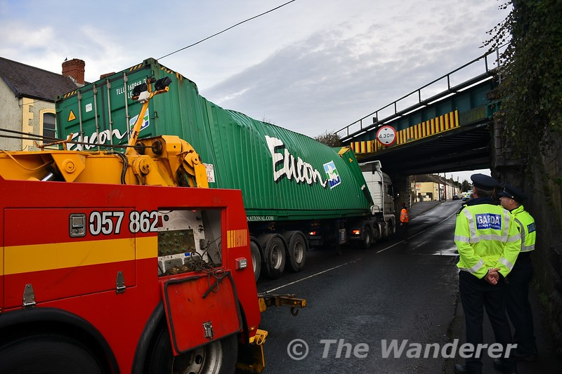 Mountrath Road Bridge (UBC146) bridge strike in Portlaoise. The damage to the 45ft Container. The truck was later moved to Corcoran's Yard for inspection. Thurs 02.01.20