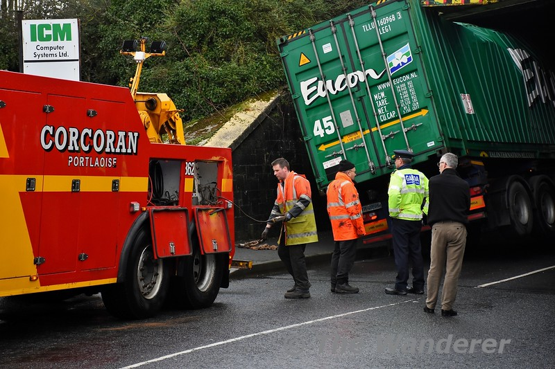 Mountrath Road Bridge (UBC146) bridge strike in Portlaoise. Corcoran's on hand to release the wedged truck from under the bridge. Thurs 02.01.20