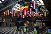 All 27 European Union Flags on display at Colbert Railway Station, Limerick as part of a new initiative with the European Expo. The vibrant and colourful flags have been placed hanging from the rafters inside Limerick Colbert Railway Station to welcome visitors, who may travel by train to visit Limerick for European Expo events when it is safe to do so. Thurs 30.07.20