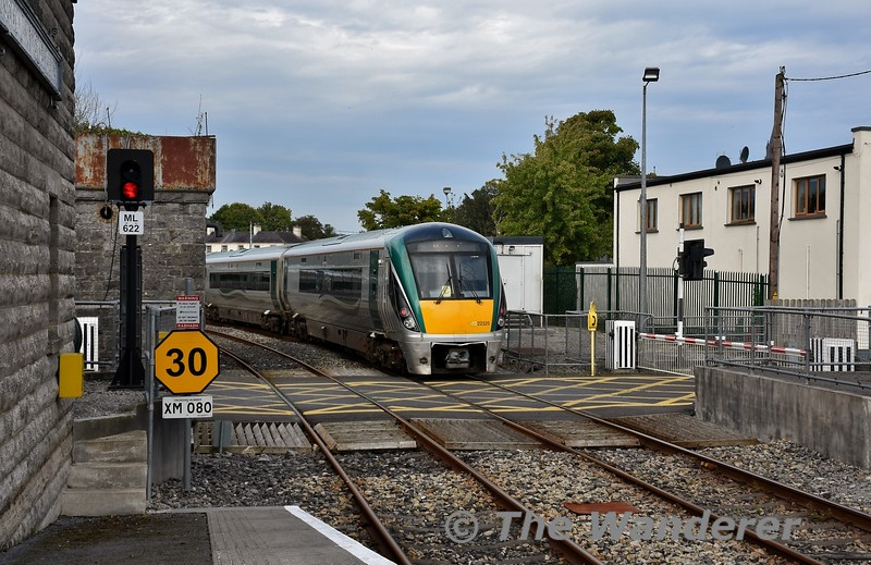 22025 brings up the rear of the 1245 Heuston - Westport as it departs from Roscommon. Mon 14.09.20