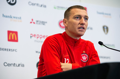 SYDNEY, AUSTRALIA - JULY 19: Mitchell Duke of the Wanderers speaks to the media prior to a Western Sydney Wanderers training session at Bankwest Stadium on July 19, 2019 in Sydney, Australia.
