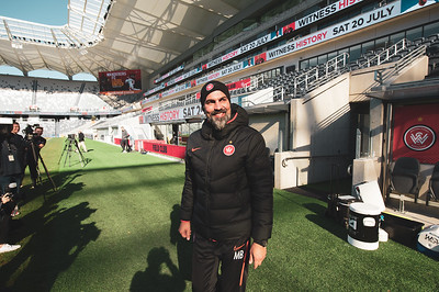 SYDNEY, AUSTRALIA - JULY 19: Markus Babbel head coach of the Wanderers stepping onto the pitch ahead of a Western Sydney Wanderers training session at Bankwest Stadium on July 19, 2019 in Sydney, Australia.