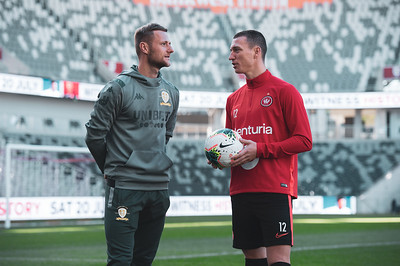 SYDNEY, AUSTRALIA - JULY 19: Mitchell Duke of the Wanderers and Leeds United Captain Liam Cooper pose for the cameras prior to a Western Sydney Wanderers training session at Bankwest Stadium on July 19, 2019 in Sydney, Australia.
