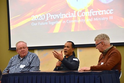 """BE OPEN TO NEW POSSIBILITIES,"" was the common message that Dn. David Nagel, Fr. Christianus Hendrik and Fr. Jim Walters shared with younger SCJs and students during a panel discussion this afternoon at the Provincial Conference. The veteran SCJs were asked to first talk about the ministries in which they had served, and then offer advice to the next generation who will carry on the Dehonian charism in the United States."
