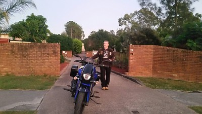 5.55am Pyro in his driveway with his Boulevard and dressed in Steel Horses attire