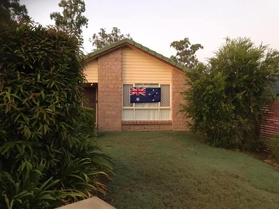 The Australian flag proudly displayed at Drastic & Suzi Q's home