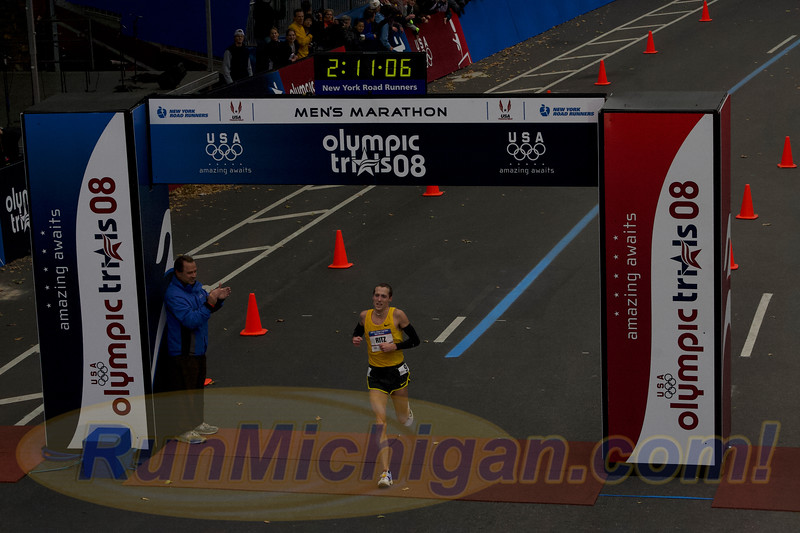 Dathan Ritzenhein crossing the finish line in second place overall at the 2008 US Olympic Trials Marathon in New York City on November 3, 2007. (Photo by Joe Baldwin)
