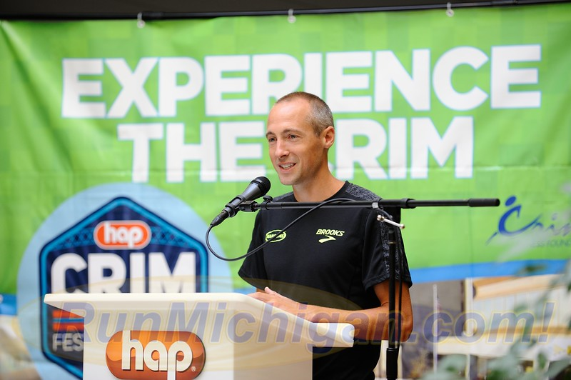 Dathan Ritzenhein addresses the media at the pre-race press conference ahead of the 2019 Crim Festival of Races in Flint Twp., Michigan on August 22, 2017. (Photo by Dave McCauley)