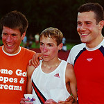 Dathan Ritzenhein (center) poses with Paul McMullen (right) after the men's 5000 meters at the 2000 Michigan International Track Meet in June of 2000 at Plymouth-Canton H.S. in Canton, Michigan. (Photo by Dave McCauley)