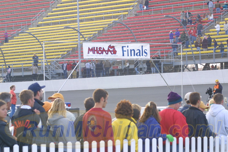 A look at the finish line of the 2000 MHSAA LP XC Boys' D1 Finals at Michigan International Speedway on November 4, 2000. (Photo by John Brabbs)