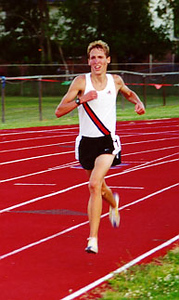 Dathan Ritzenhein during the men's 5000 meters at the 2000 Michigan International Track Meet in June of 2000 at Plymouth-Canton H.S. in Canton, Michigan. (Photo by Dave McCauley)