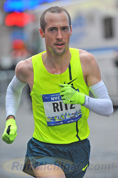 Dathan Ritzenhein cruises through the streets of Manhattan at the 2015 NYC Half in New York City on March 15, 2015. (Photo by Dave McCauley)