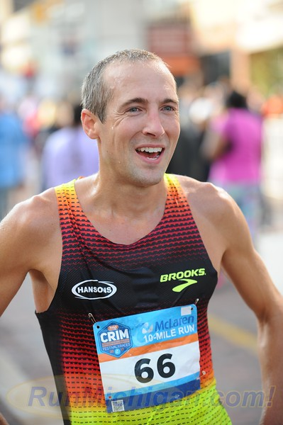 Dathan Ritzenhein after the 2017 Crim 10 Mile in Flint, Michigan on August 26, 2017. (Photo by Dave McCauley)