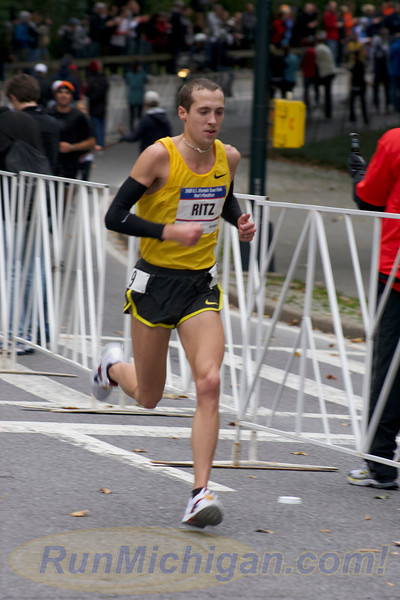 Dathan Ritzenhein captured late in the race at the 2008 US Olympic Trials Marathon in New York City on November 3, 2007. (Photo by John Brabbs)