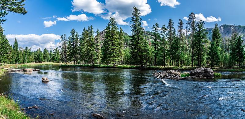 beautiful nature scenes along yellostone river in wyoming