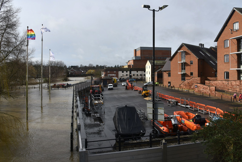 Shrewsbury floods around midday on 24th Feb 2020.<br /> The flood defences at Frankwell and the university.