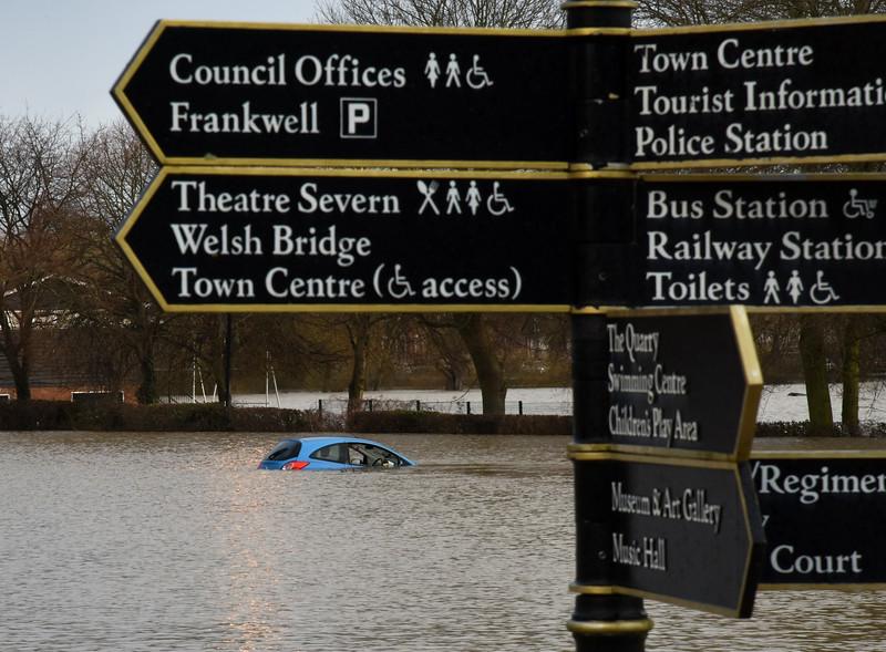 Frankwell car park, Shrewsbury as of 8am, 17-2-20.