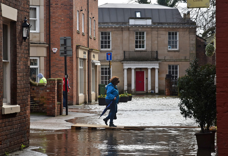 Shrewsbury floods around midday on 24th Feb 2020.<br /> St Julian's Friars.