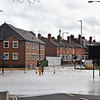 Shrewsbury floods around midday on 24th Feb 2020.<br /> Looking towards Belle Vue Road and Old Coleham.
