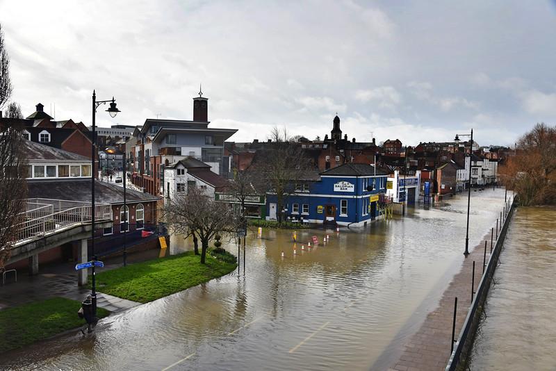 Shrewsbury floods around midday on 24th Feb 2020.<br /> Smithfield Road.